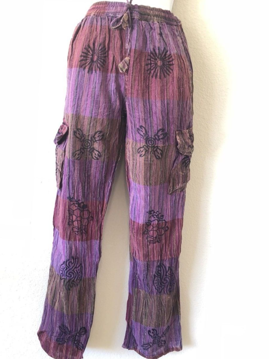ST19 Nepalese Turquoise Stripe Cotton Yoga//Lounge Trousers Unisex L