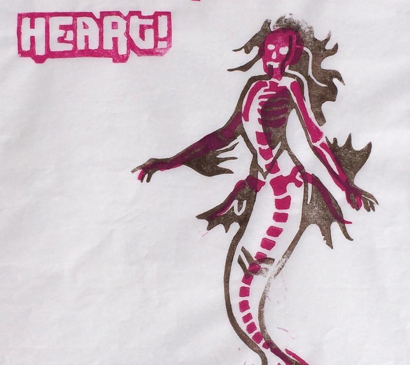 Linoldruck Meerjungfrau - you do have a heart - memento vitae
