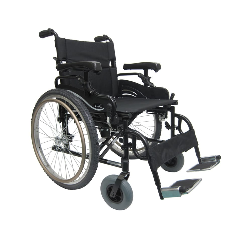 folding chairs with footrest directors chair km-8520-22 inch wide seat bariatric wheelchair - karman healthcare