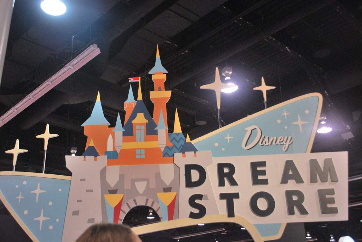The Disney Dream Store sells D23 Expo merchandise including Disney spirit jerseys and pins.