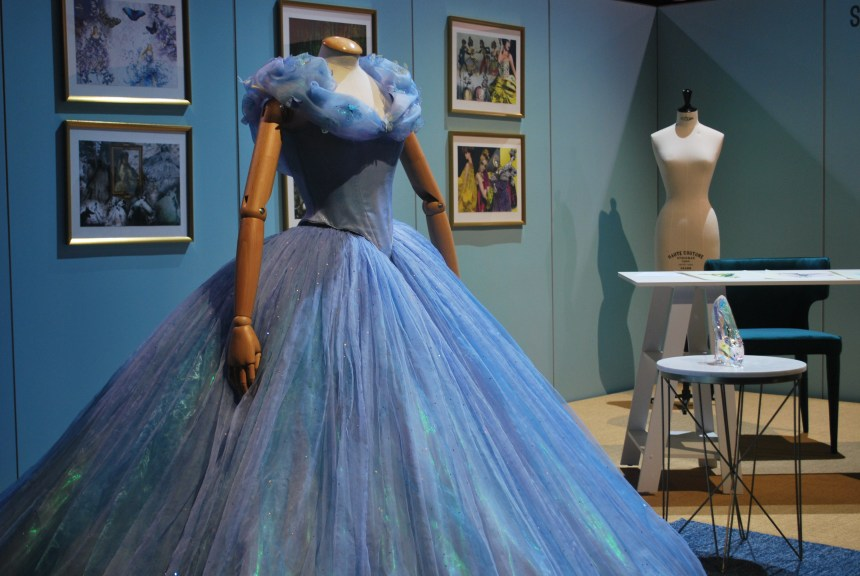 Cinderella's dress, worn by Lily James, was showcased alongside other renditions of the classic.