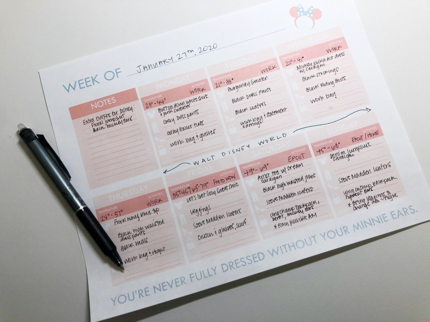 Disney Outfit Planner Free Download
