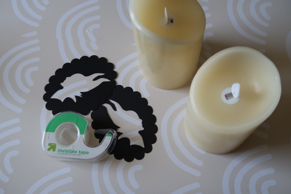 What you'll need for Maleficent themed candles