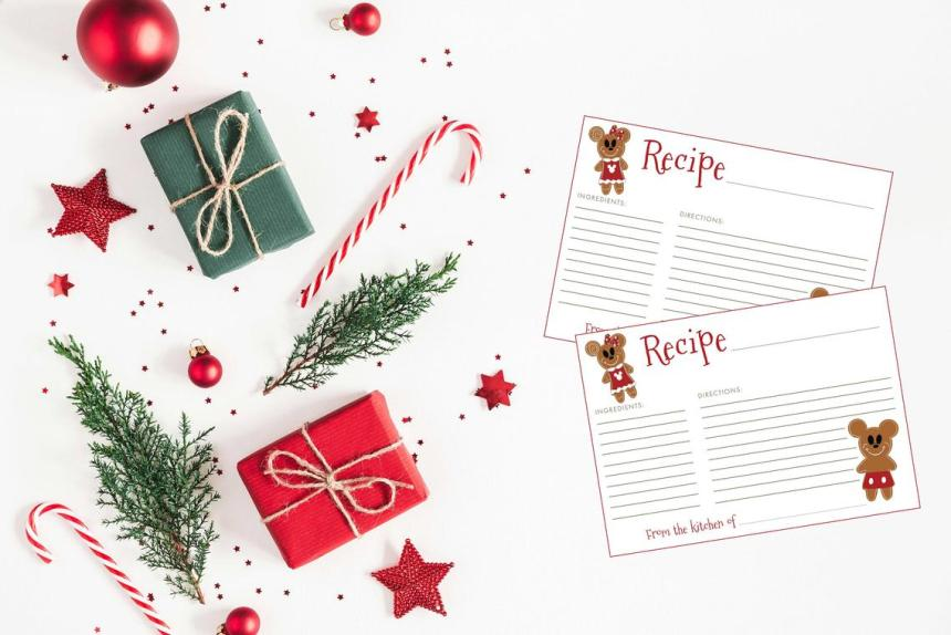 Disney recipe cards that you can print at home for Christmas