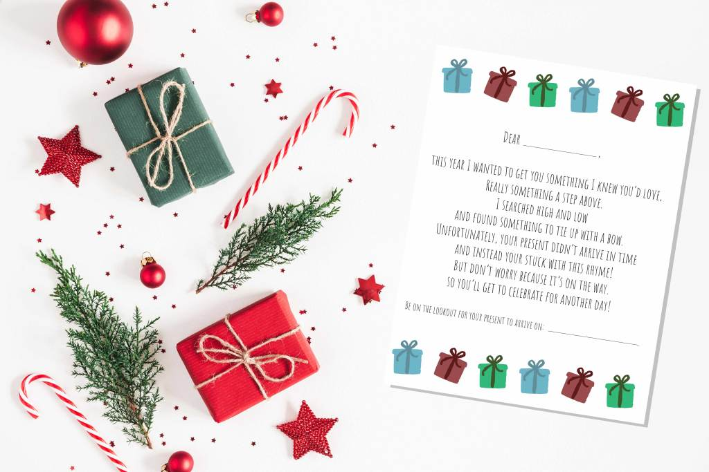 Letter to give if gift is arriving late