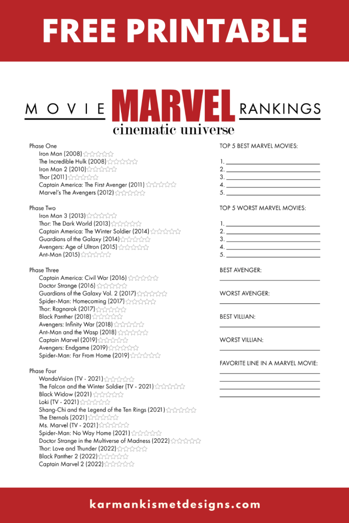 Free Printable Marvel movies marathon