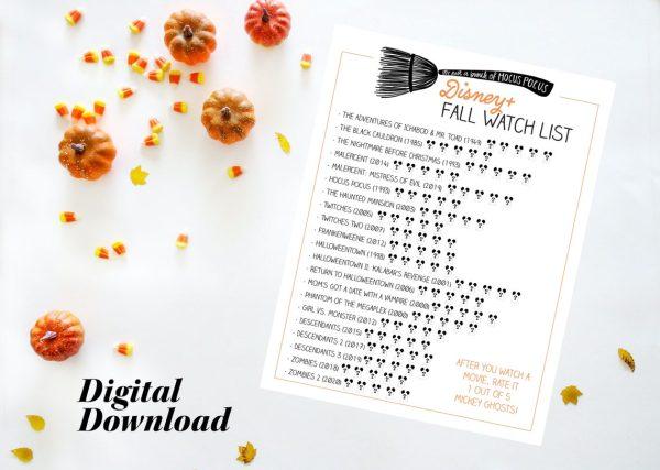 disney fall movie watch list printable