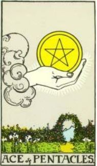 Rider-Waite Tarot Ace of Pentacles