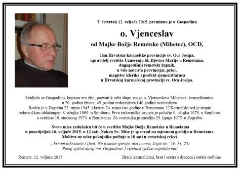Osmrtnica - O. Vjenceslav Mihetec, OCD