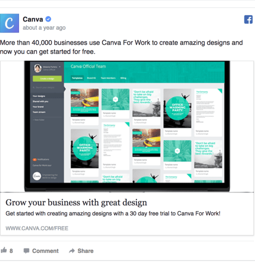 SaaS Facebook ad layout