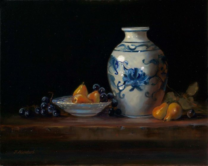 Blue Vase And Sugar Pears Karolee Blanchard