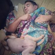 Like father, like son. They sleep like bears.