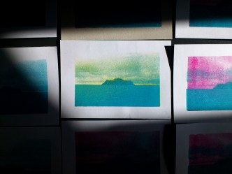 Travelling in cold place to discover warmest feelings: myself. Screen print A5 size. Multicolours attempts, to study the influence of them to my sensations. Work made in VII Studio of Printmaking Expansion in Academy of Fine Art and Design in Wrocław, Poland, 2014