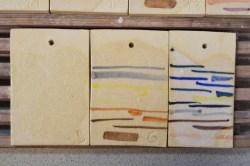 """2. Próbki / probes """"5,6,7"""" – 1200-1220°C Clear glaze Skaleń/ Feldspar 52 Tlenek cynku/ Zinc Oxide 6 Kreda/Whiting 20 Kaolin/ China Clay 5 Kwarc/Flint 17"""