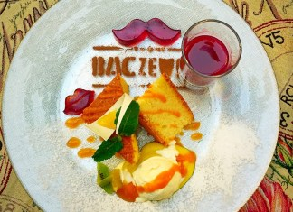 Delicious dessert in Baczewski restaurant in Lviv