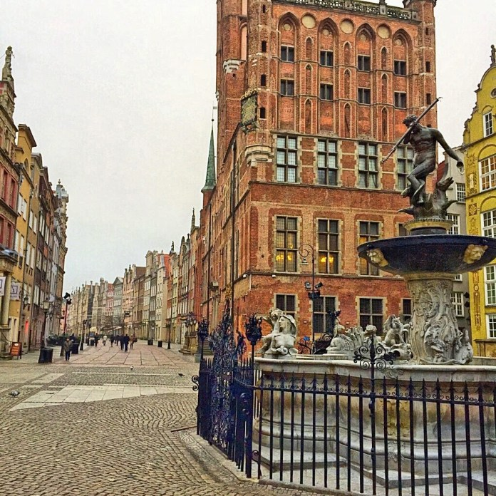Old town in Gdansk and Neptune fountain