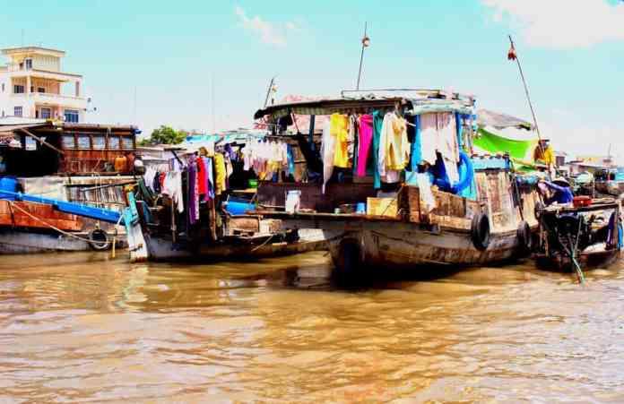 Boat house at Mekong Delta