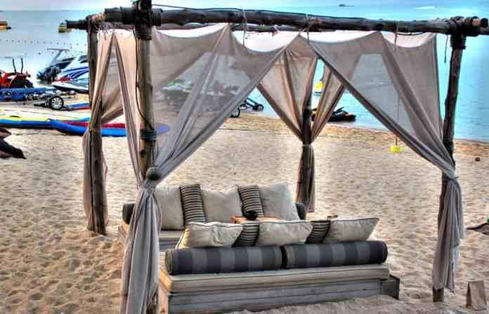 Bed on the beach at Koh Samui island