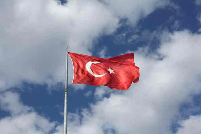 The Turkish flag waving in the wind
