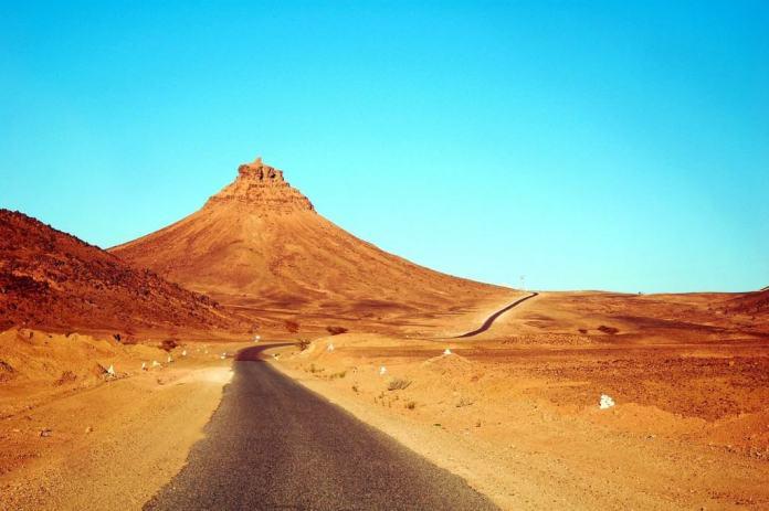 Road through the beautiful Moroccan Sahara desert