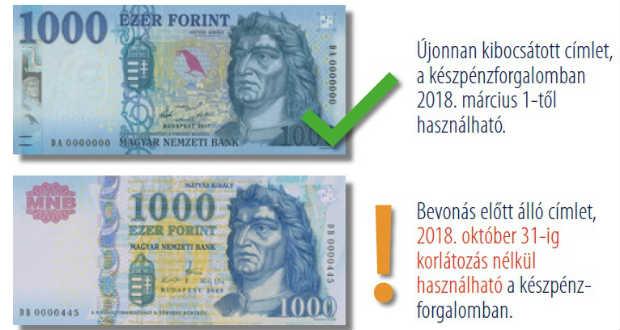 Szerdán lehet utoljára fizetni a régi 1000 forintos bankjegyekkel