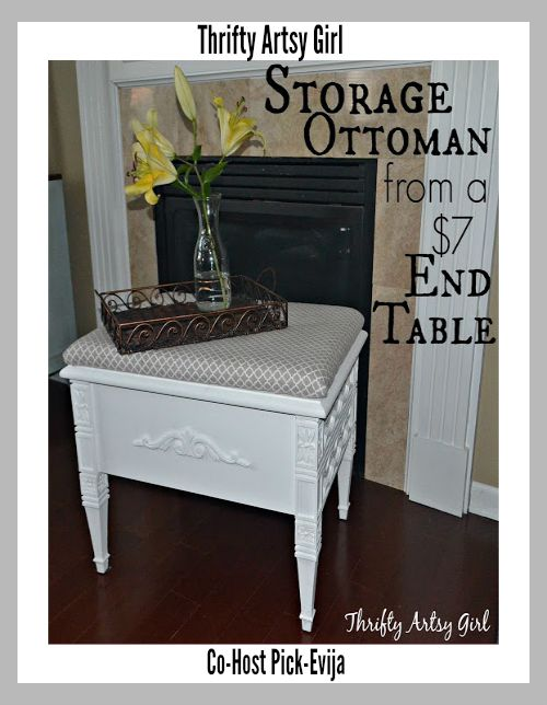Thrifty Artsy Girl-Storage Ottoman From an End Table