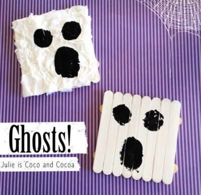We made two variations of these friendly ghosts. First a simple popsicle stick ghost. And the second started the same as the first with the addition of a bunch of tissue paper squares glued on the top.