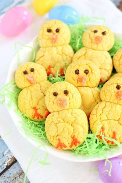 lemon-cake-mix-cookie-easter-chicks-