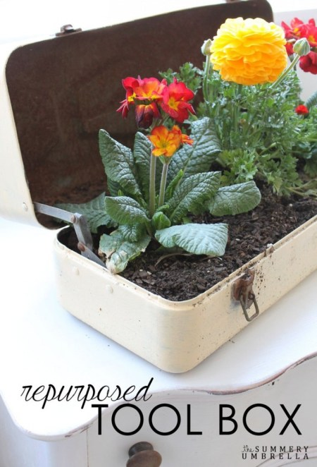 The Summery Umbrella -repurposed-toolbox-flower-planter