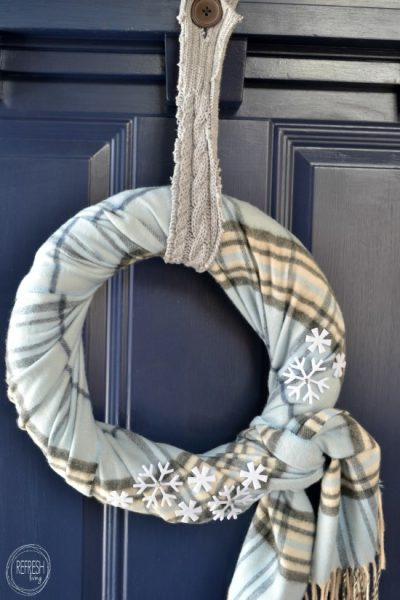 DIY Winter Scarf Wreath Using Thrift Store Items-Refresh Living