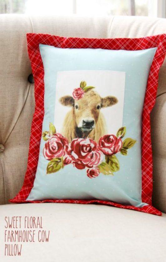 Flamingo Toes Farmhouse-Floral-Cow-Pillow