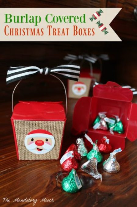 Mandatory Mooch Burlap Covered Christmas Treat Boxes