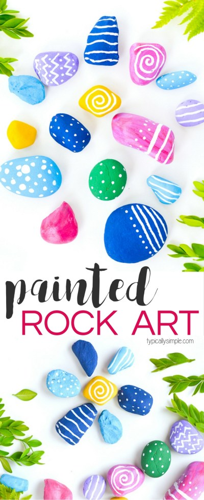 Typically Simple Painted Rocks These bright and colorful rocks are made while on trips, you can always carry bright markers to create these keepsakes