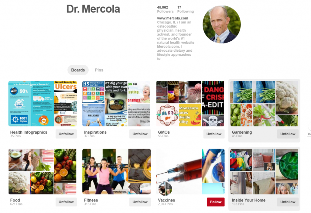 Dr. Mercola Pinterest Profile Example