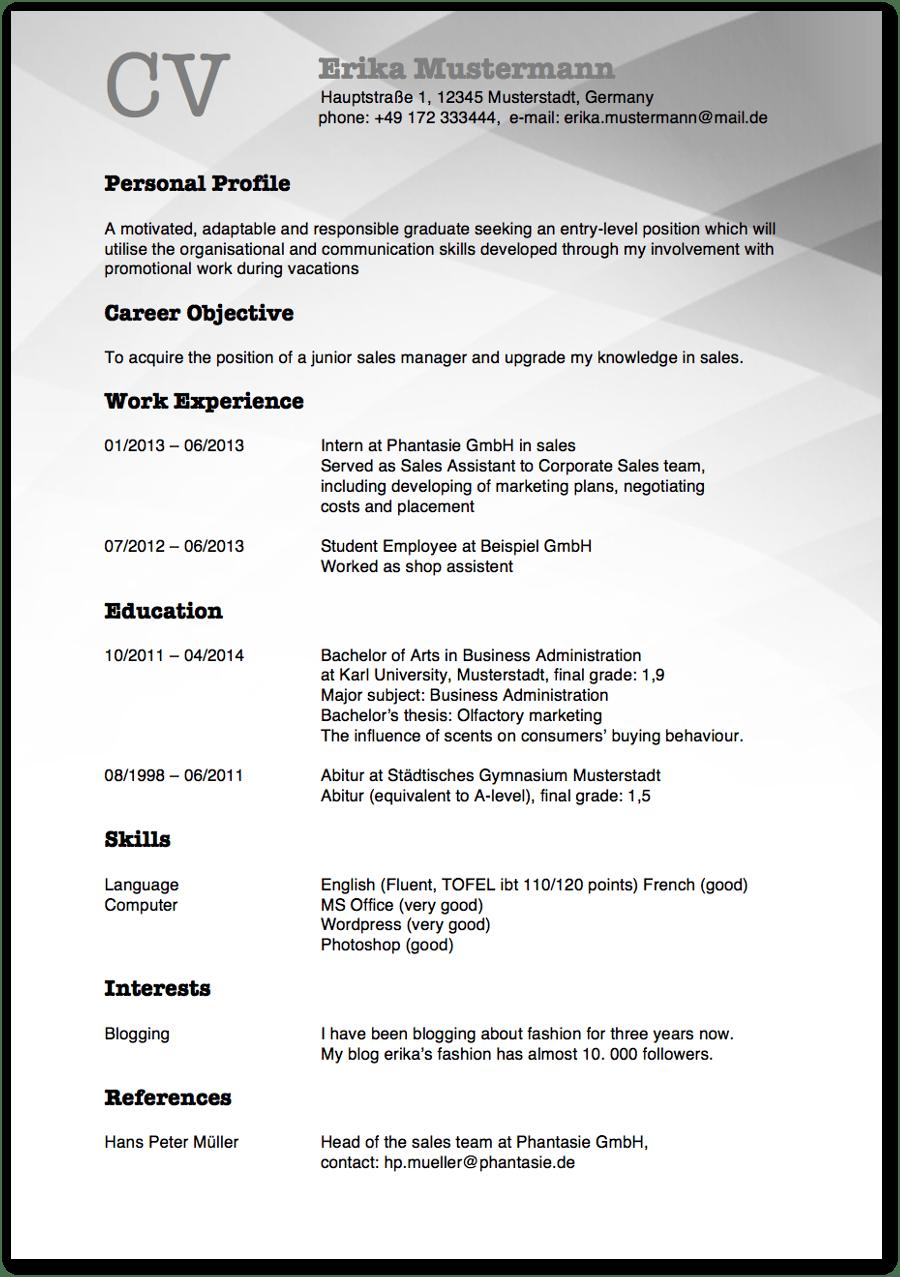 Lebenslauf Auf Englisch Tipps Für Resume Und Cv