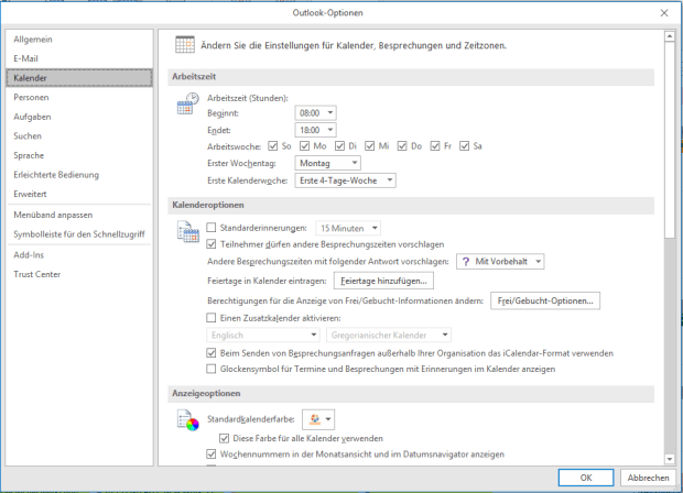 Outlook-Optionen Screenshot