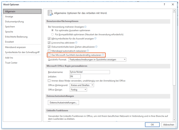 Datei Optionen Microsoft Search (Screenshot)