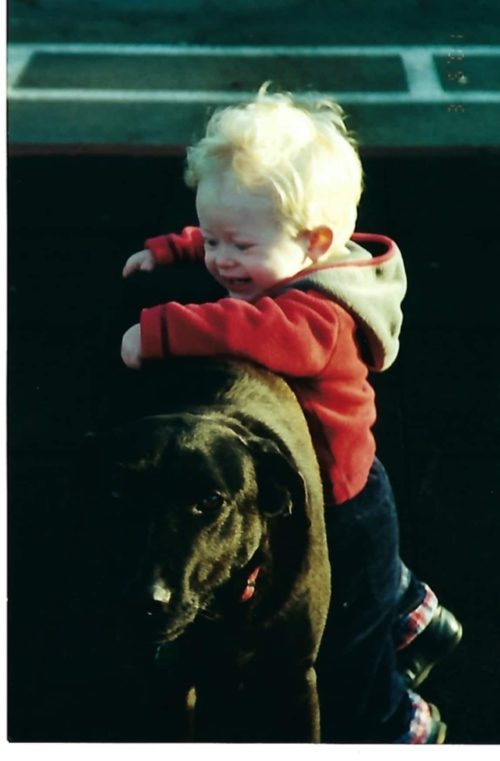 little boy with black labrador