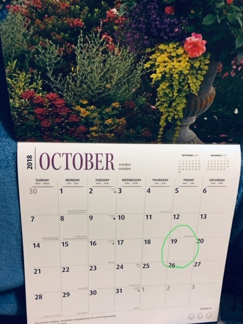 Photo of Mom's calendar with garden and October 19th circled