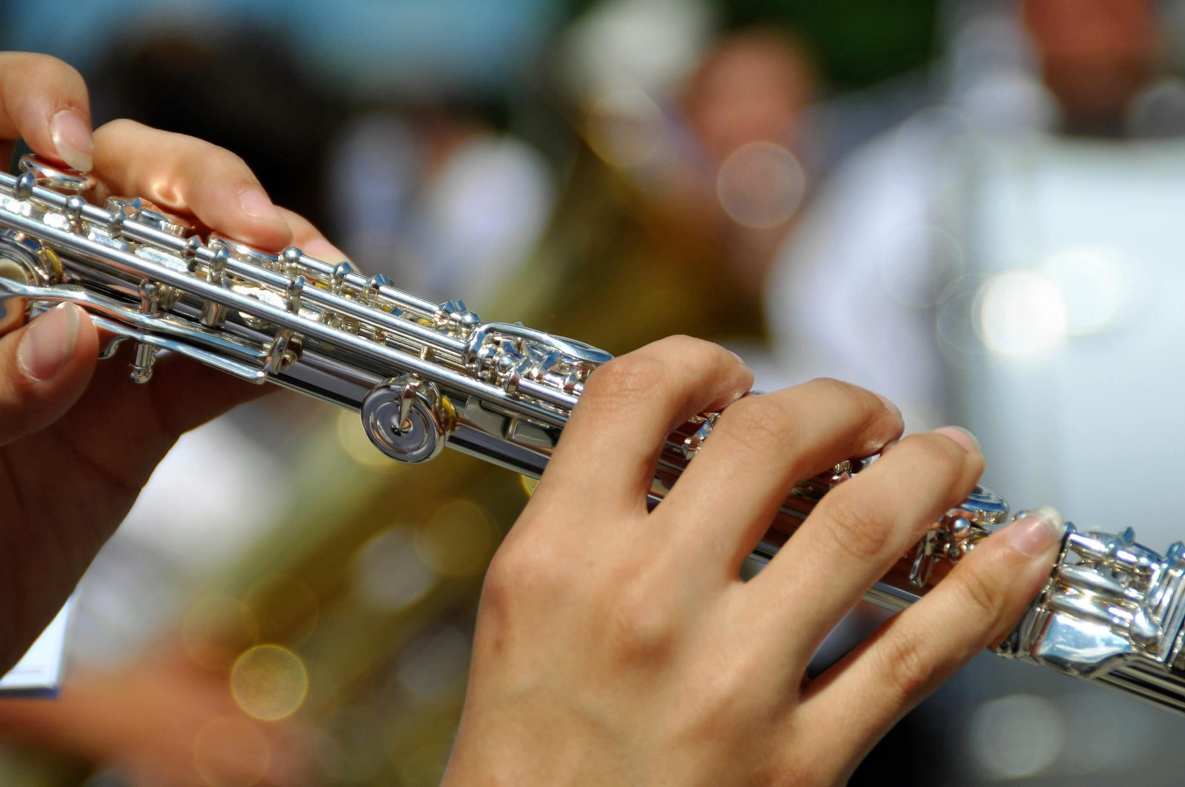 Hands playing flute