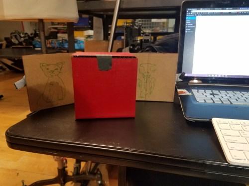 Cardboard prototype of the failed magician's box.
