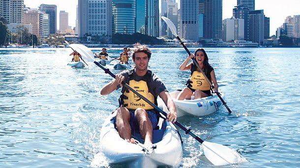 Kayaking along the Brisbane river