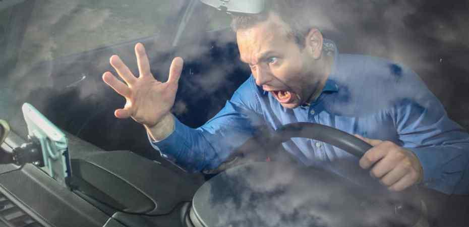 Man experiencing road rage