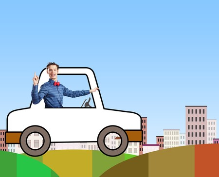 funny man driving cartoon car