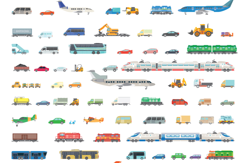 animation of different transportation methods