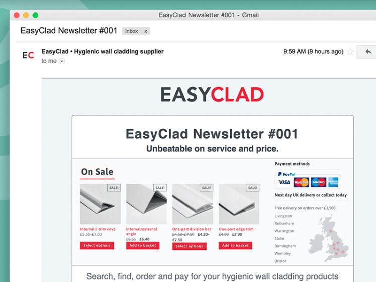 EasyClad MailChimp Newsletter design.