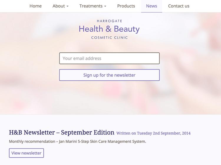 Screenshot of Harrogate Health & Beauty email newsletter design.
