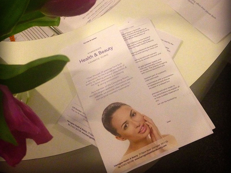 Photo of Harrogate Health & Beauty brochure print design.