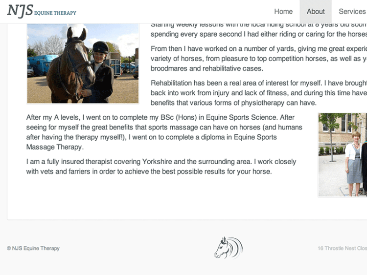 Screenshot of NJS Equine Therapy web design.