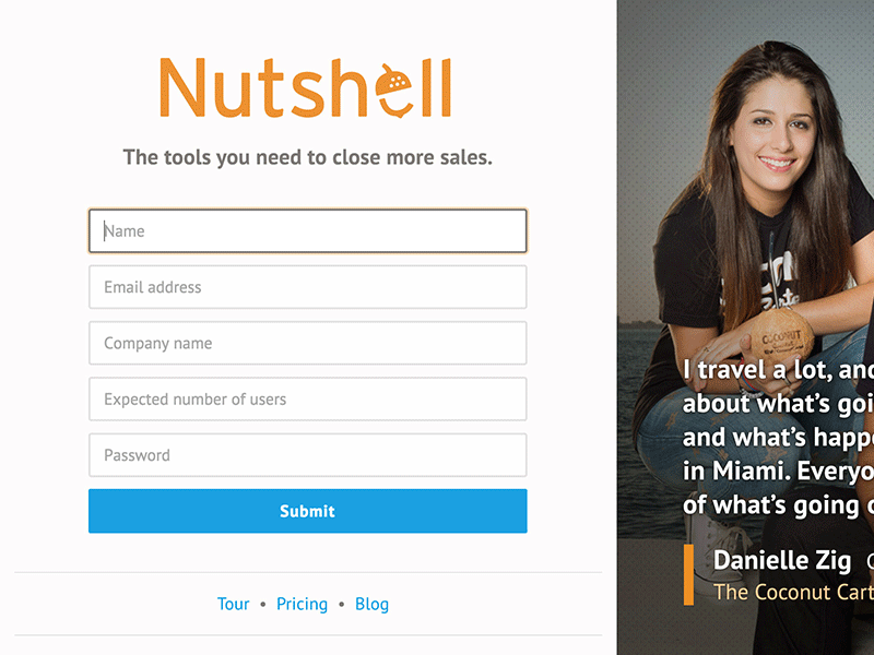 Screenshot of Nutshell sign up page design.